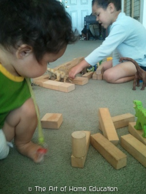 Playing with the blocks and dinosaurs